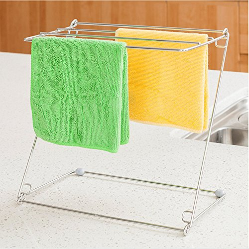 Homespace Stainless Steel Kitchen Rags Rack Drying Rack Desktop Dishcloth Rack Folding Storage Rack Silver by Home space