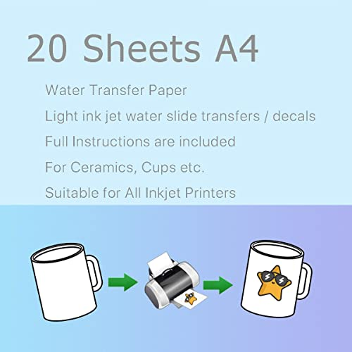 VOSO - 20 Sheets A4 Inkjet Light Water Transfer Paper for Cup Decal Craft DIY # 640244B
