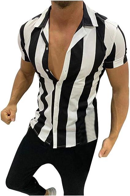 ZODOF Camisetas Hombre Mangas Corta Algodon Lino Estampada ...