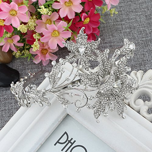 EVER FAITH Wedding Leaf 2 Flower Headband Clear Austrian Crystal Silver-Tone
