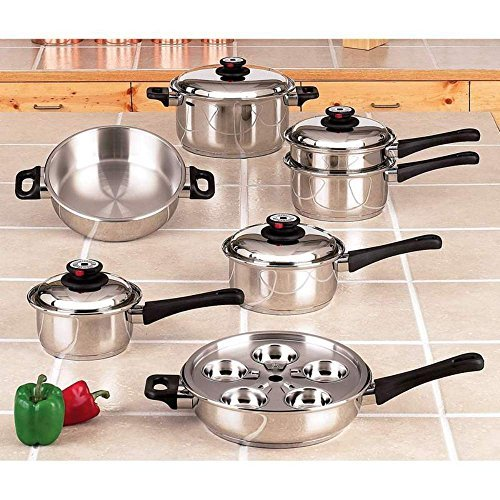 Maxam 5-Ply Stainless Steel Waterless Cookware Set