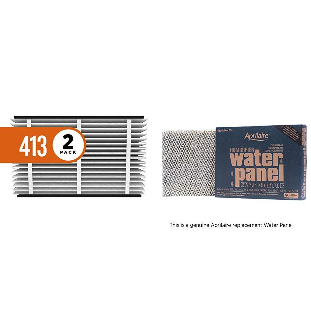 Aprilaire 413 Replacement Air Filter for Aprilaire Whole Home Air Purifiers, Healthy Home Allergy Filter, MERV 13 (Pack of 2) + 35 Replacement Water Panel for Aprilaire Whole House Humidifier Models