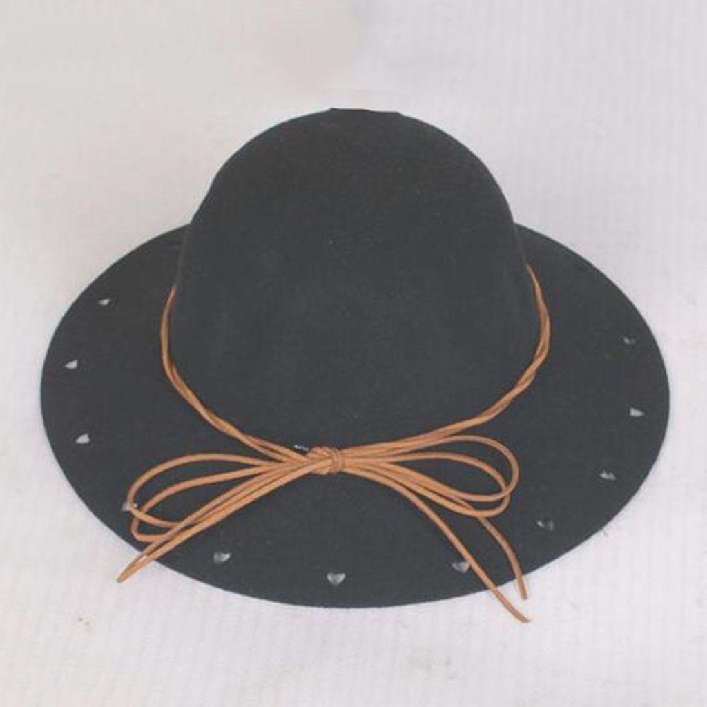 Mujer Retro Sintió sombrero niño encantador invierno Moda Sombrero de fieltro , black
