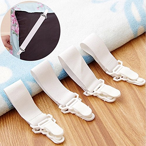 Bedding - 4x Bed Sheet Grippers Clip Holder Fasteners Set Elastic - Bed Sheet Grippers Set Of 4 Non Slip Holders Fasteners Clip Metal Straps Clips Fitted Holder Adjtable Spenders - 1PCs Black Friday & Cyber Monday 2018