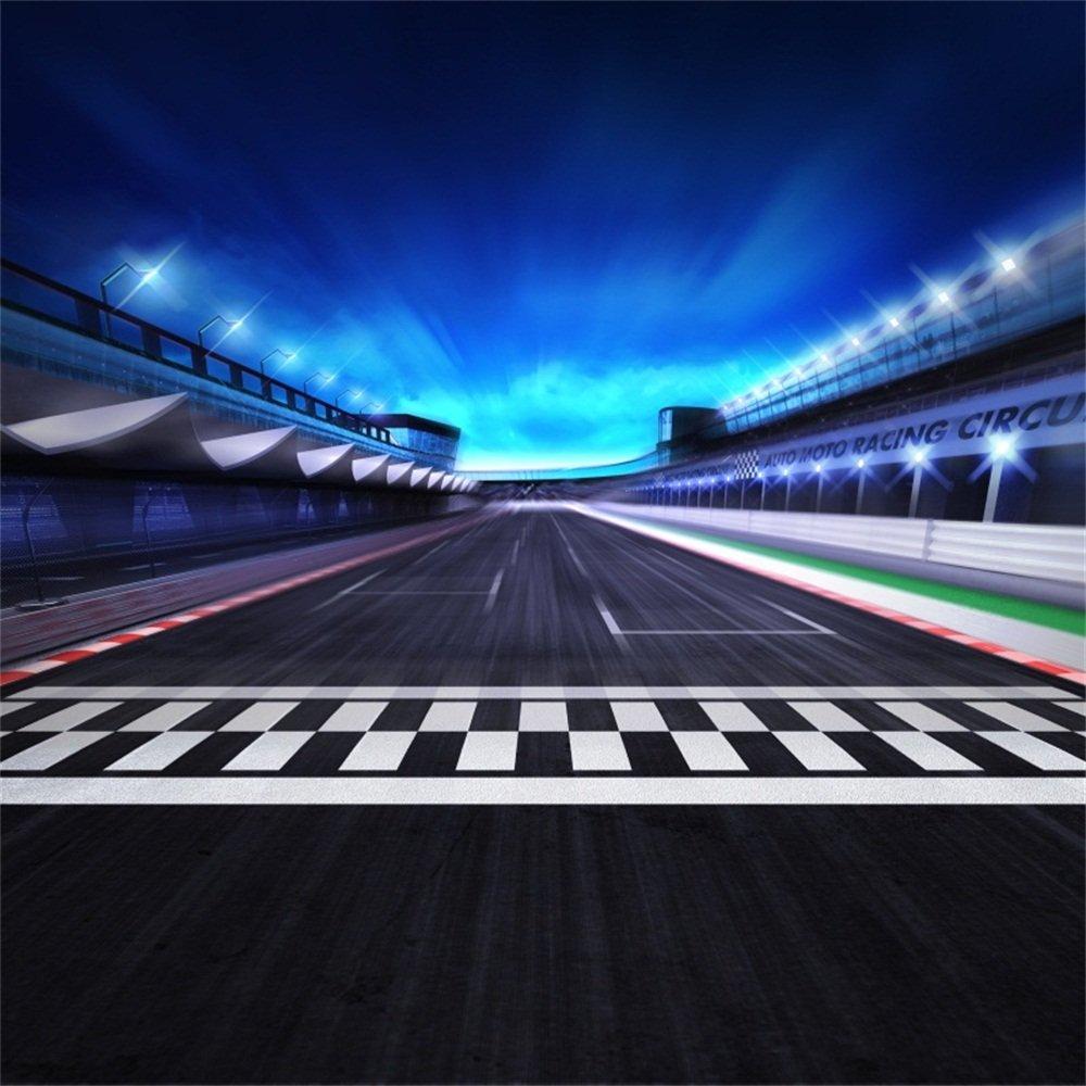 lfeey 6 x 6ft Motorsports Racetrack Backdrop速度ラックFinish Line in Motion Blur Stadiumとスポットライトの背景写真キッズ子供写真ブース小道具   B07FBW34DH
