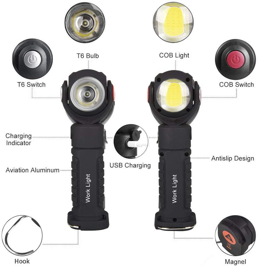 USB Rechargeable Round Work Light COB Inspection Torch with Magnetic Base and Hook for Repairing Working Camping WOMAO 360 Degree Rotatable Flashlight Double Light Source with Two Switches Adjustable