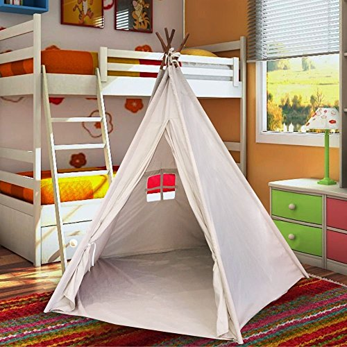 EasyGo Products Indoor Tee Pee Tent – 6 Foot Tall Classic Indian Play Tent for Kids with Five Wood Poles and Carry Bag – Five-Sided Walls with Door, Window and (Children Tents)