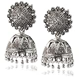 Jaipur Mart Oxidized Silver Plated Jhumki Earrings for Women (GSE247SLV)