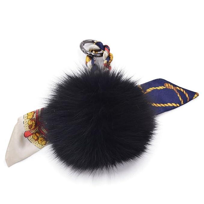 Amazon.com: Fox Fur bufanda cinta Bola Pompón coche Llaves ...