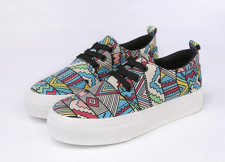 0a0d23790e92f1 Damen Canvas Gekritzel Muster Prints Runde Zehen Schnürsenkel Low Top  Flache Sneakers Blau 36 EU Aisun