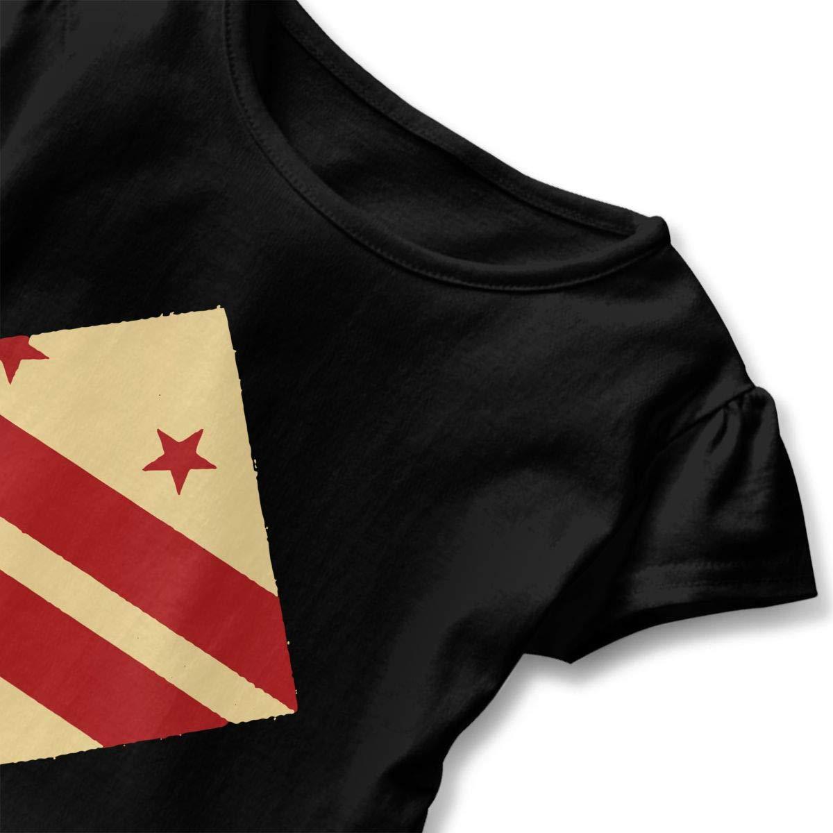 SHIRT1-KIDS Washington Flag Toddler//Infant Girls Short Sleeve Ruffles Shirt T-Shirt for 2-6 Toddlers