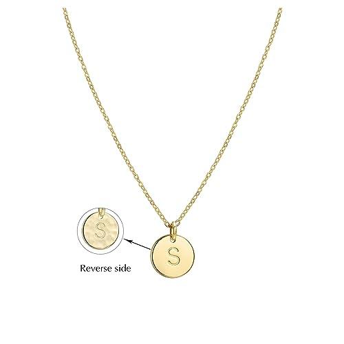 cdaef2ce285f Befettly Colgante de plata chapado en oro de 14 K con disco redondo de  doble cara