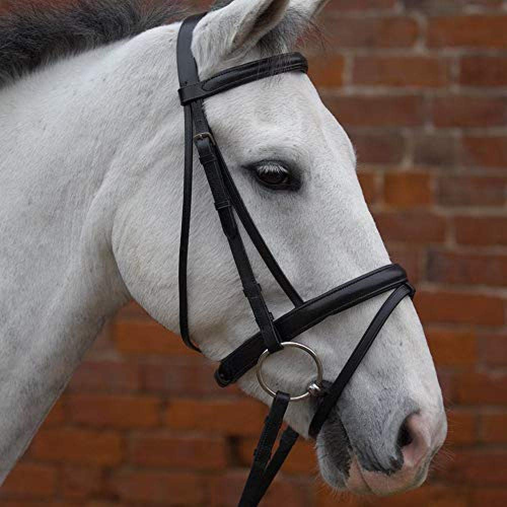 Brown UK Size  X-Small Brown UK Size  X-Small Hy Padded Flash Bridle with Rubber Grip Reins