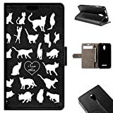 Vodafone Smart 4 Turbo Case - BeCool Flip Wallet Folio Stand Case I Love Cats
