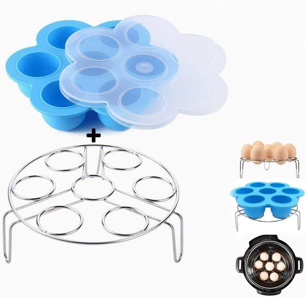 Kspowwin Silicone Egg Bites Molds With Stainless Steel Egg Steamer Rack for Instant Pot Accessories Fits Instant Pot 5/6/8 qt Pressure Cooker, Blue