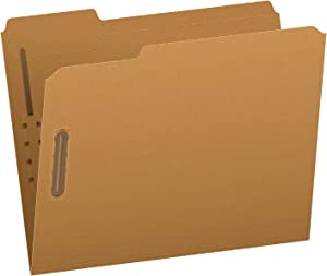 Pendaflex Fastener Folders, 2 Fasteners, Letter Size, Kraft, 1/3 Cut Tabs, in Left, Right, Center Positions, 50 Per Box (FK212)