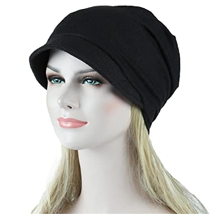f1fe47f8fd7 SUKEQ Womens Slouchy Turban Chemo Hat Cotton Beanie Visor Cap Cancer Head  Scarf Tennis Sun Hat