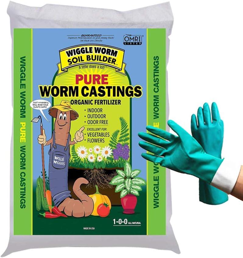 30-lb Worm Castings Organic Fertilizer, Wiggle Worm Soil Builder, [Bundled with Pearsons Garden Gloves]