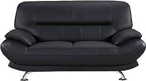 """American Eagle Furniture Arcadia Mid Century Modern Leather Living Room Loveseat, 68"""", Black"""