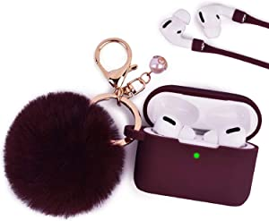 Case for Airpods Pro, Filoto Airpod Pro Case Cover for Apple AirPods Pro Wireless Charging Case, Cute Air Pods 3 Case Silicone Protective Accessories Keychain/Pompom/Strap (Burgundy pro)