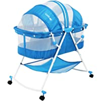 Luvlap Sunshine Baby Bed with Wheels (Blue)