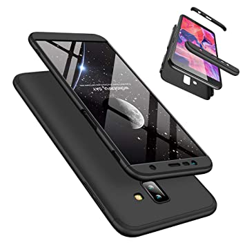 Funda Samsung Galaxy J6 Plus 360°Caja Caso + Vidrio Templado Laixin 3 in 1 Carcasa Todo Incluido Anti-Scratch Protectora de teléfono Case Cover para ...