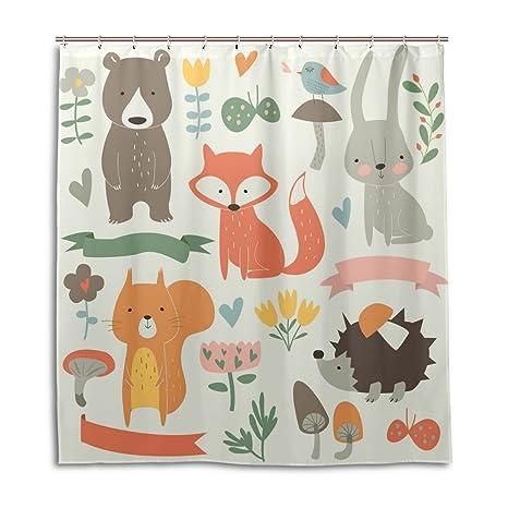 Forest Fox Bear Rabbit Hedgehog Mushrooms Shower Curtain By MOCK ST Water Resistant Fabric Bath