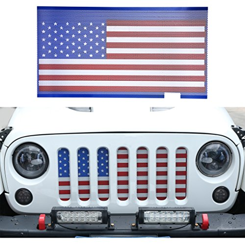 Hooke Road USA American Flag Front Grille Mesh Insert for 2007-2018 Jeep Wrangler JK & Unlimited