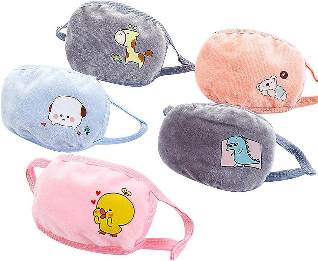 COAFIT 5 piezas máscara de boca de algodón de dibujos animados lindo máscara de boca facial cálida cubierta de boca para niños