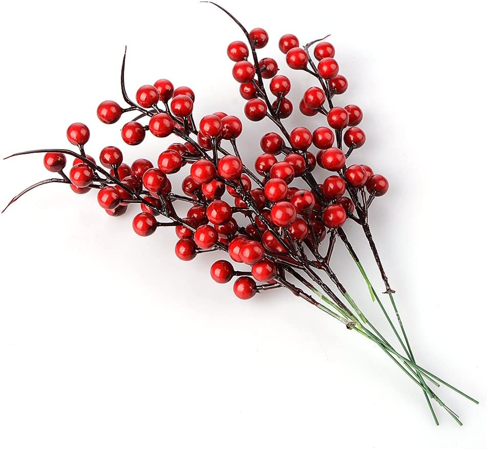 "BELUPAI Artificial Berry Stems, 20 Pack 10.2"" Christmas Red Berries Artificial Fruit Berry Holly Flower Branch for Home Holiday Wedding Party DIY Christmas Tree Crafts Decor"