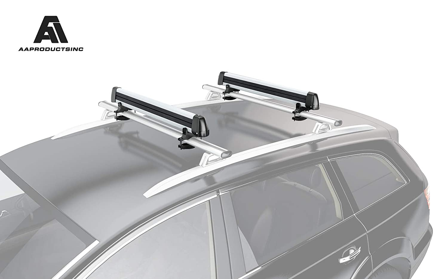 AA Products Ski Roof Rack Fits 6 Pairs Skis or 4 Snowboards, Ski Roof Carrier Fit Most Vehicles Equipped Cross Bars AA Prouducts