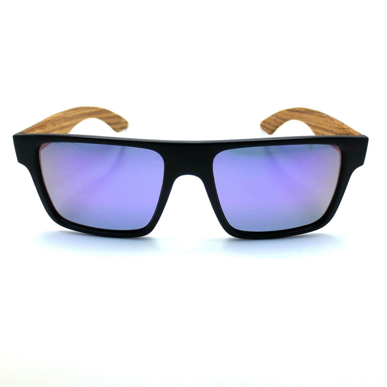 ab517dc3099 Stylish Wooden Real Zebrano Wood UV400 Polarized Black Square Frame  Sunglasses Purple  Amazon.com.au  Kitchen