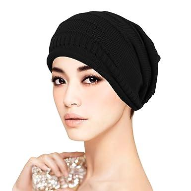 7e6052de27a ISASSY Women Man Unisex Winter Plicate Baggy Beanie Knit Crochet Ski Hat  Oversized Slouch Cap