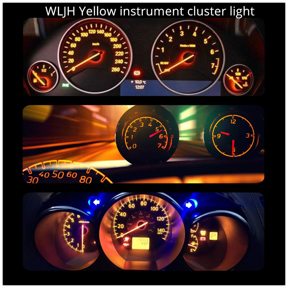 WLJH Bright White Instrument Cluster Panel Gauge Speedometer Tach Oil Pressure Fuel Temp Clock Indicator Bulb Full Led Light Kits Package Replacement for Jeep Wrangler 1987-1991