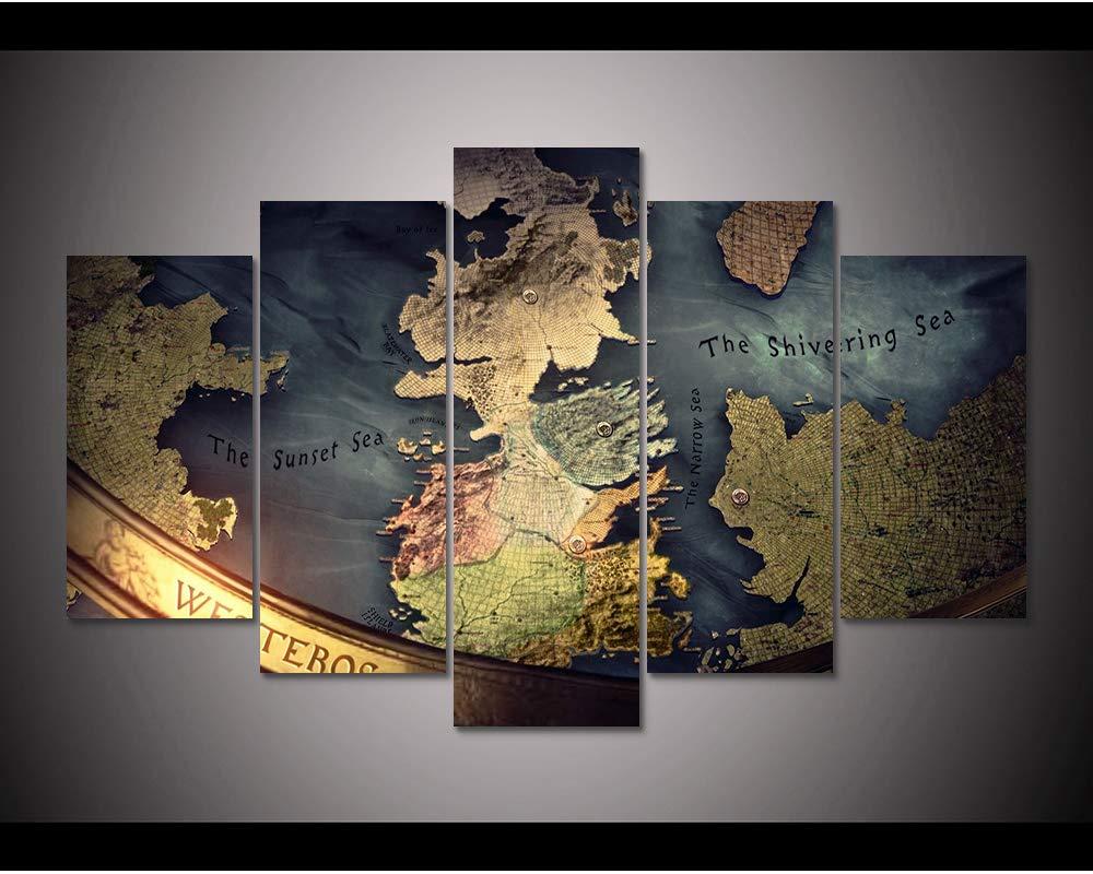 Impressions sur Toile Carte en Toile Imprim/ée De 5 Pi/èces De Westeros-Cadre