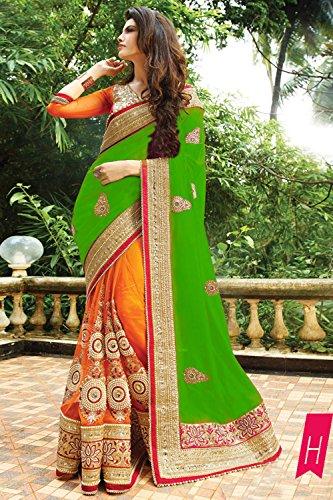Da Facioun Indian Women Designer Party wear Green Saree Sari NF-6060H