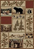 Rustic Lodge Forest Cabin 5×7 Area Rug, 5'3×7'3 For Sale
