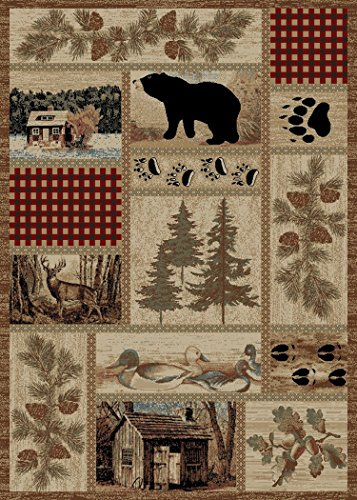 Rustic Lodge Forest Cabin 4x5 Area Rug, 3'11x5'3