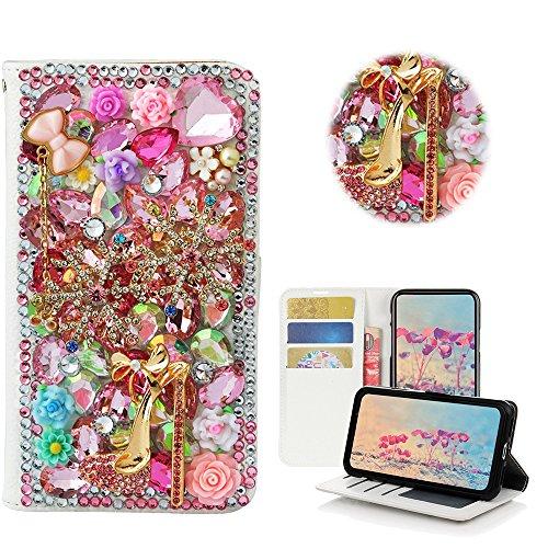 (STENES iPhone 8 Plus Case - Stylish - 3D Handmade Bling Crystal Snow Girls High Heel Rose Flowers Desgin Wallet Credit Card Slots Fold Media Stand Leather Case for iPhone 7 Plus/iPhone 8 Plus - Pink)