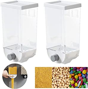 Julvie 2pcs Dry Food Dispenser, Sealed Dry Grain Storage Container can Control the Output of Plastic Food Containers 1.5L High Capacity Wall-Mounted Cereal Dispenser