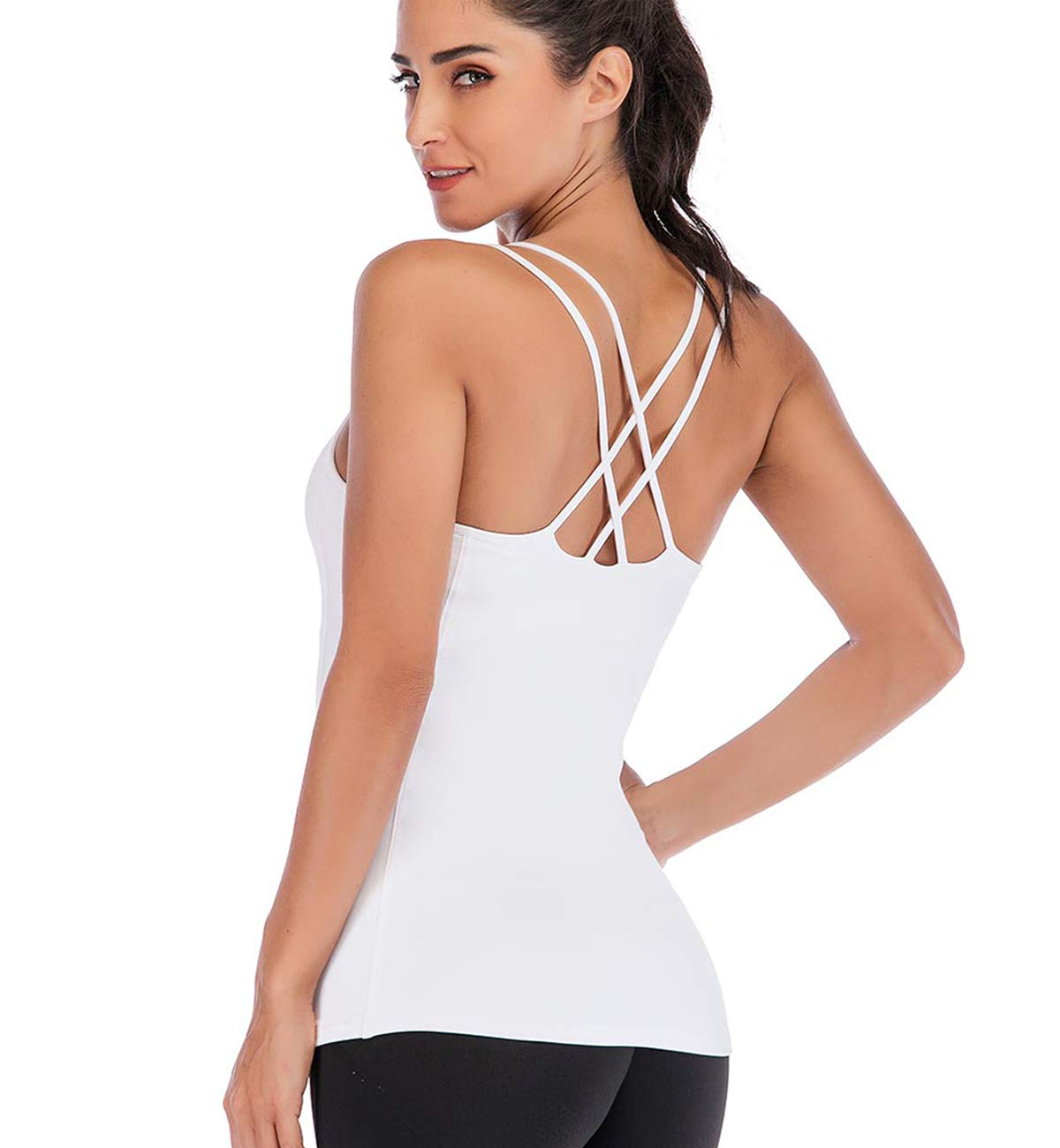 TALEVE Women Yoga Tank Tops Workout Shirts Built in Shelf Bra Strappy Back Activewear Racerback Compression Top White by TALEVE