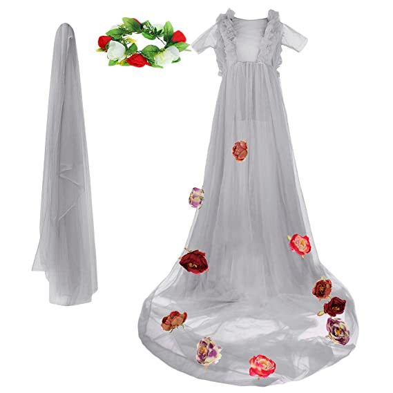 129e1a37fd MagiDeal Pregnant Womens Organza Maxi Dresses Maternity Gown Photography  Props Photo Shoot - Gray, as described: Amazon.co.uk: Clothing