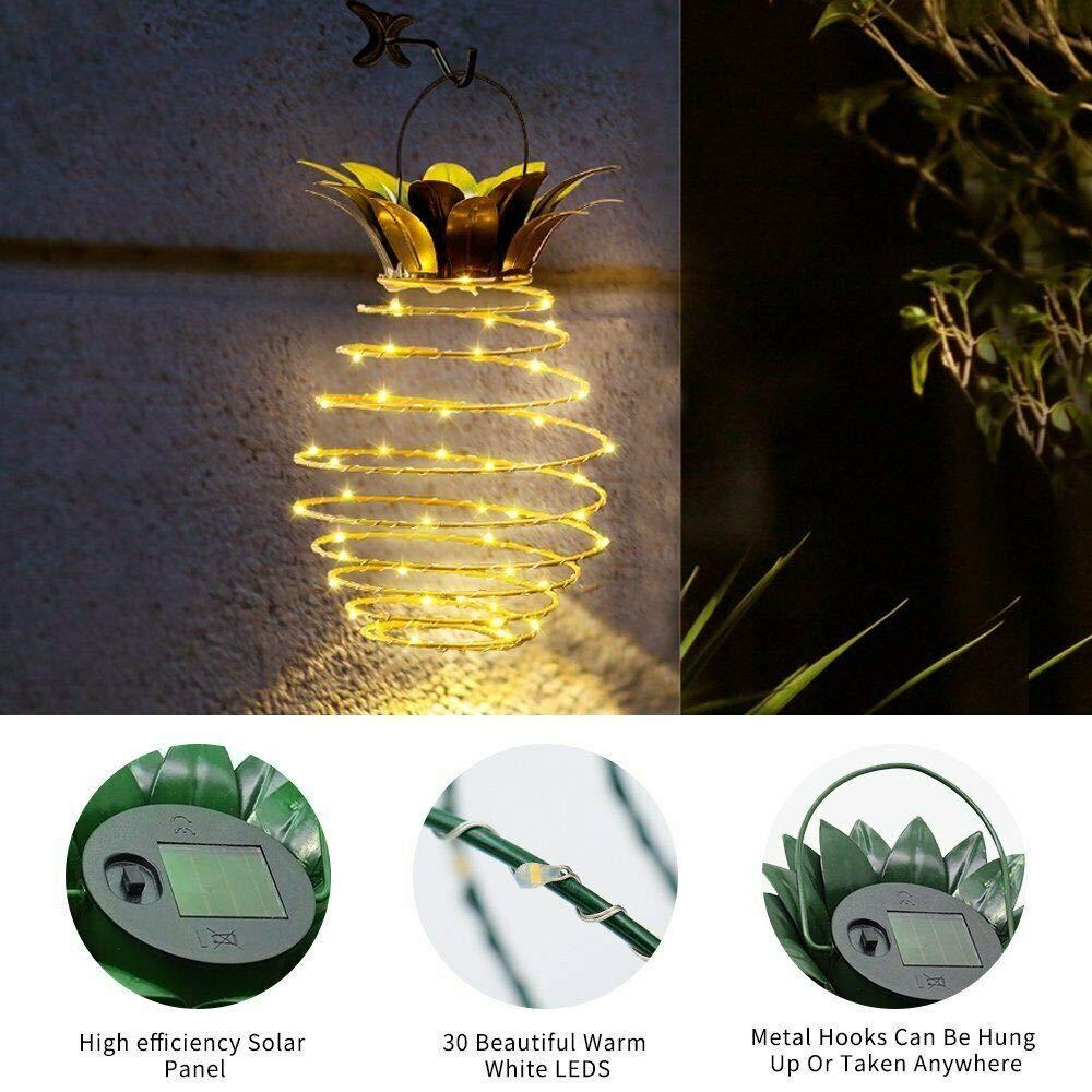 2PCs VNEIRW Kupferdraht Lichterkette Solar 2019 NEW Ananas Laterne Verdrehte Lichterkette Warme Wei/ß Au/ßenlampe Innenbeleuchtung mit Haken Wasserdicht IP45