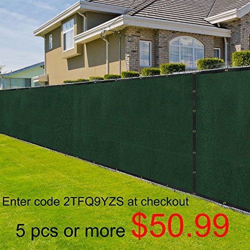 8x50 Chain Link Privacy Slats Fence Cover 8ft Screen Fence with Brass Grommets CHEAP Construction Site Landscape Fabric 90% Blockage Residential Commercial Outdoor Windscreen UV Resistance Green