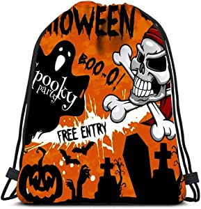 Drawstring Backpack Bags Halloween Holiday Party Or And Flyer Template Design Of Hallo Portable Shoulder Bags Travel Sport Gym Bag