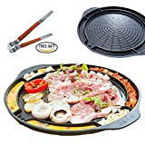 korean bbq grill pan - ALL IN KOREAN BARBEQUE STOVETOP GRILL PAN - 17 inches Round type Dom Pan Structure Non Stick Coated Family Size Free Stainless Tongs Included