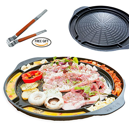 ALL IN KOREAN BARBEQUE STOVETOP GRILL PAN - 17 inches Round type Dom Pan Structure Non Stick Coated Family Size Free Stainless Tongs Included