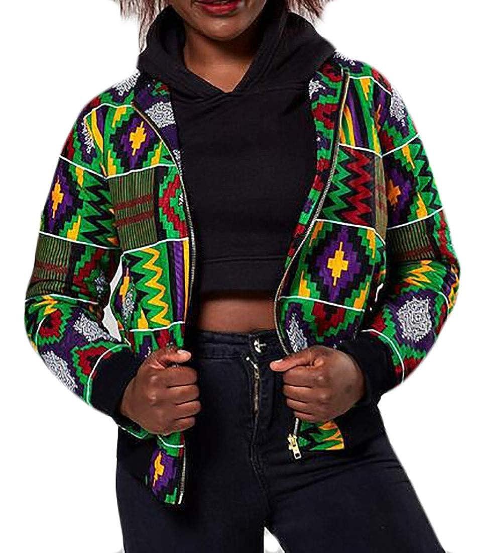 Fensajomon Women African Tribal Print Full Zip Casual Baseball Jacket Bomber Coat Outwear