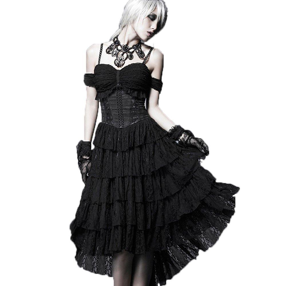 PunkRave Gothic Women's black Long suspender skirt Q-203-2XL
