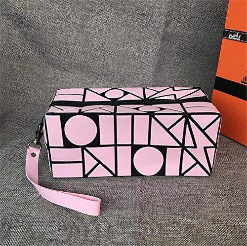 Aoligei Foudre géométrie losange Pack grande capacité Portable sac cosmétique pliage sac A